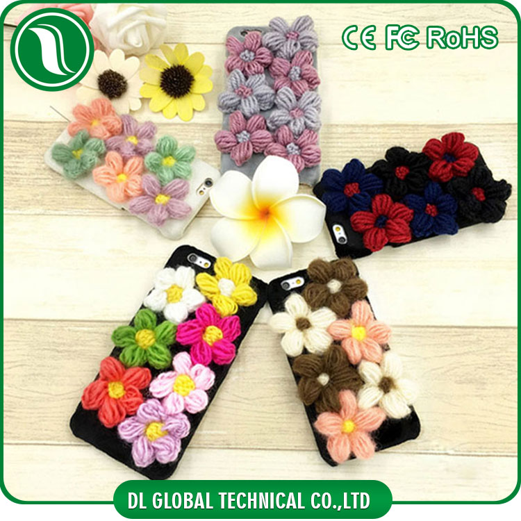 Korea mobile phone accessories pc hard phone case for iphone 7 plus 3d knitting colorful flower woolen mobile phone case