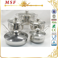 10pcs belly shape steel handle pan & pot stainless steel cookware