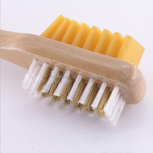 Wholesale Turn suede leather cleaning brush two-side shoe brush turned velvet skin