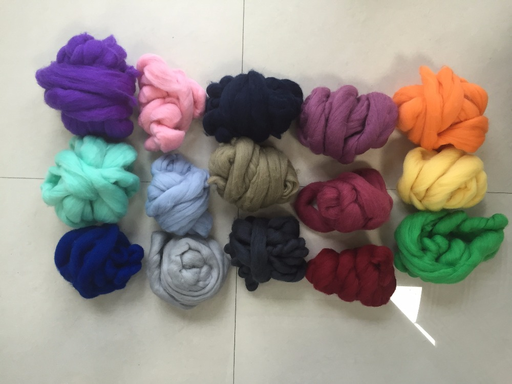 100% merino wool top roving 23mic, dyed colors