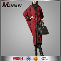 Cool Abaya in Dubai 2016 Leather Detailed Female Tunic Maroon Rope Dress