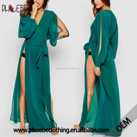 Latest gown designs sexy women night dress long robe with side slit