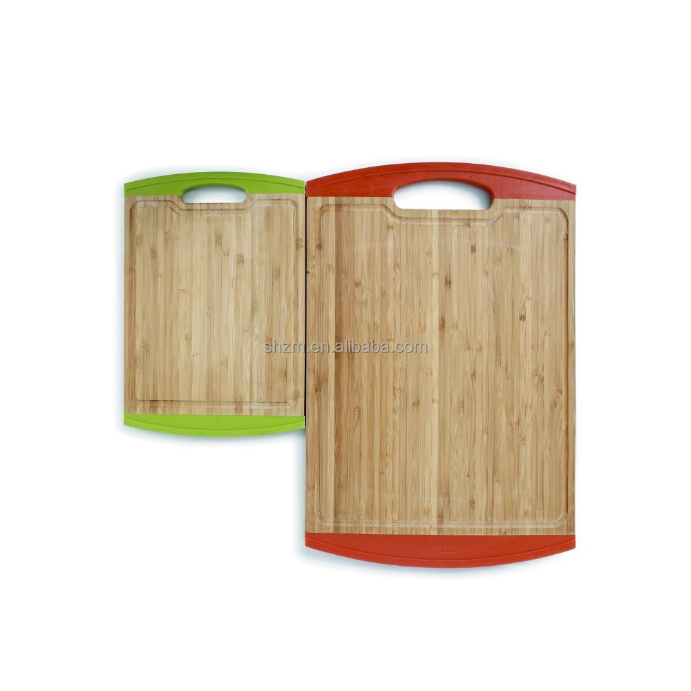 Morden Design Bamboo Cutting Board Set with Non-Slip Edges 2 Pieces High Quality Naturally Bamboo Cutting Board with Silicone