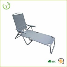 folding steel chaise sun lounge with plastic arm & textlene back and seat chair