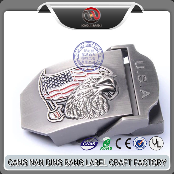 Top Quality Low MOQ Color Filled Type And Woven Belt Use Custom 3D Logo Zinc Alloy Antique Military Belt Buckle