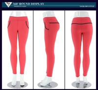 Latest pink fitness designs ladies capri women sexy trousers
