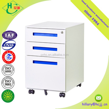 Modern Office Furniture Vertical Metal Movable Cabinet Steel Mobile Pedestal Storage Cabinet