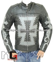 Motorcycle Leather Jacket Choppers style with Armor