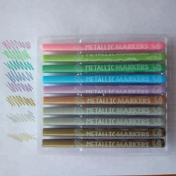watercolor Premium Metallic Marker Pens, PVC bag Set of 10 Assorted Colors