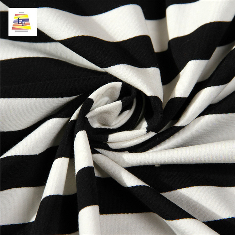 Wholesale Cheap Cotton Single Jersey with Stripe Design 100% Cotton Stripes Fabric