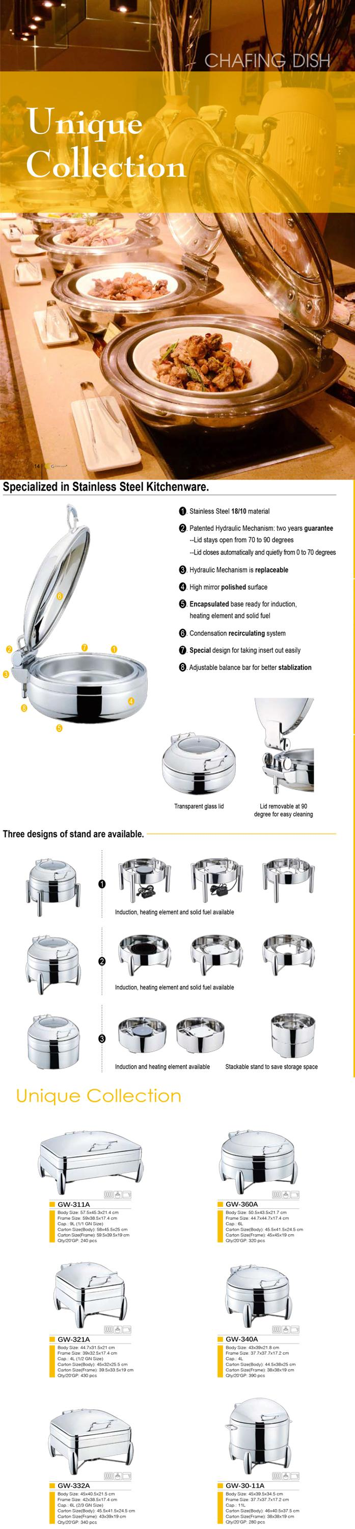 GW-32A-GL 6L Competitive Price High Reflective hydraulic induction series chafing dish