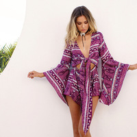 K1170A 2017 Hot Selling Long Sleeve Bohemia Style Sexy Deep V-neck Printed Women Short Jumpsuits