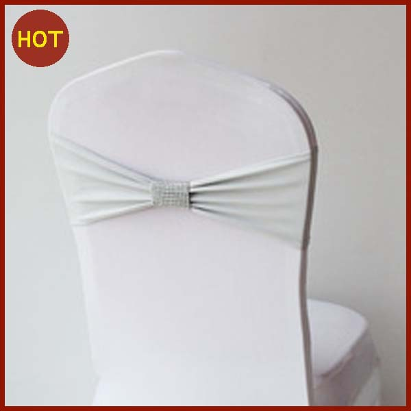 yellow wedding decoration/spandec lycra chair cover band with mesh buckle