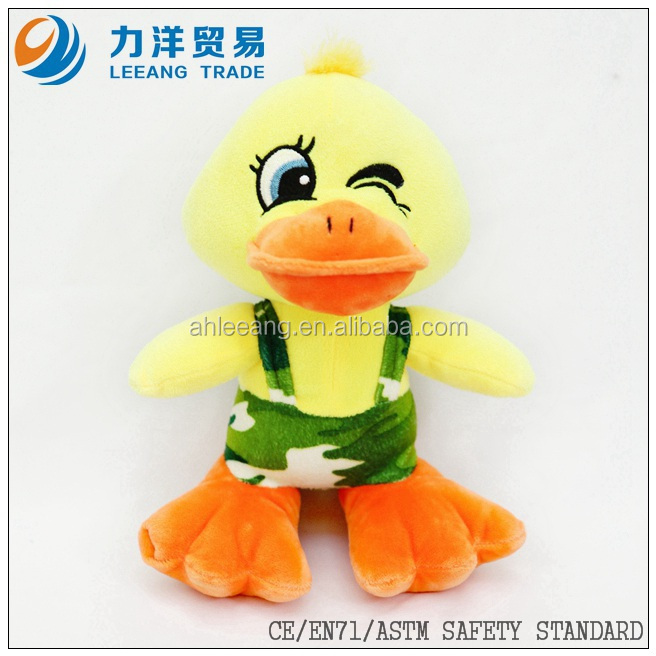 yellow plush duck with pants for baby kids, Customised toys,CE/ASTM safety stardard