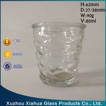 80ml wave Embossed glass candle holder
