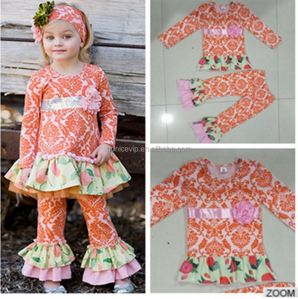 2016 spring winter vintage design long sleeve baby girls kids outfit wholesale Children Set Clothing