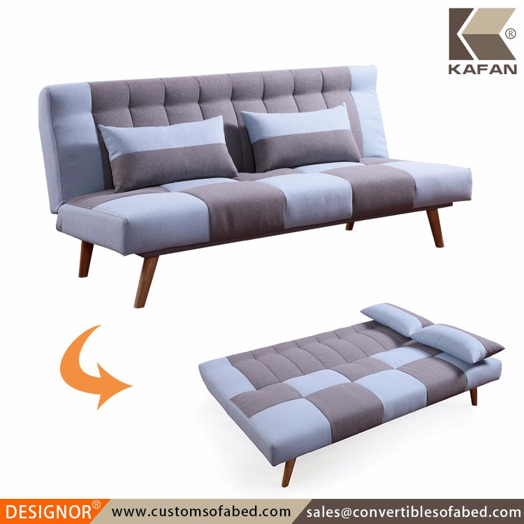 Patchwork wooden frame upholstered foam folding sofa bed