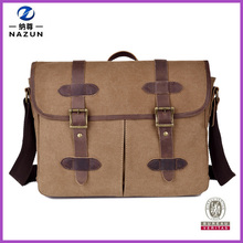 Vintage Leather Straps Waterproof Canvas 14 inch Laptop Handbag