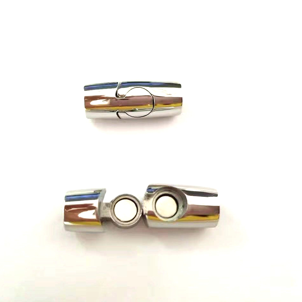 Jewelry DIY accessory stainless steel metal round lock magnetic clasp for flat leather bracelet necklaces (AR-007)