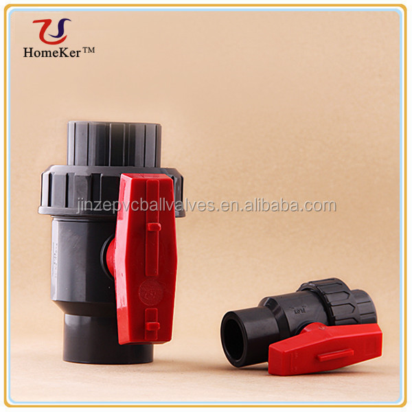 Red Handle BS Socket Double Union PVC Ball Valve To South America