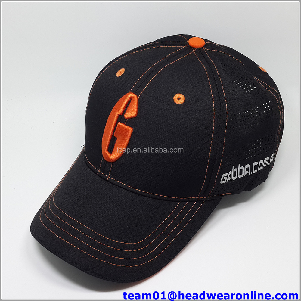 High Quality Custom laser holes baseball Caps With 3D Embroidery Logo In Sport Caps