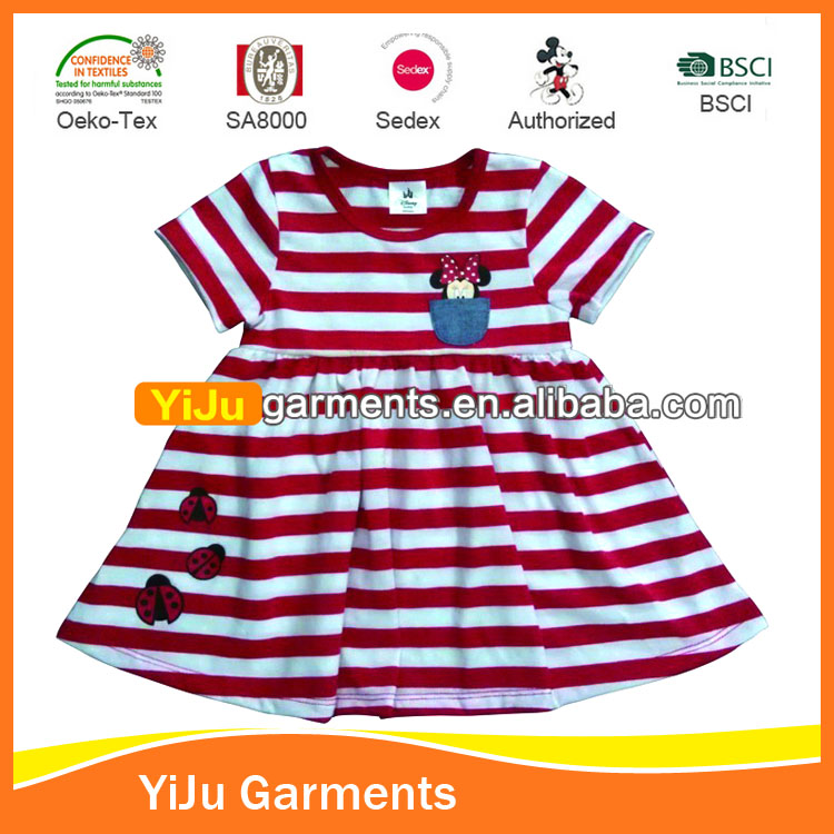 Yarn Dyed Stripes Baby Girl cotton Dresses children Eco-friendly Material