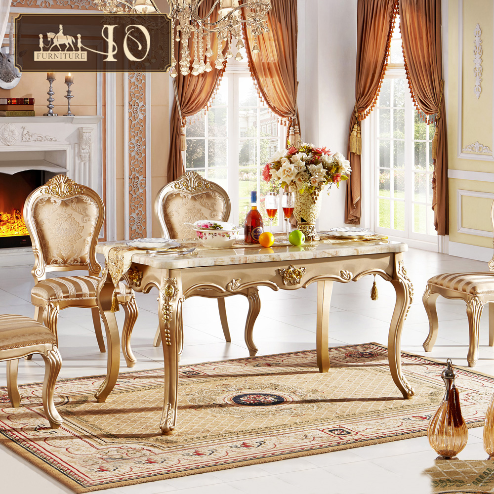 0111# IO furniture Champagne gold solid wood dining room furniture set hotel room furniture with white pattern marble slab table