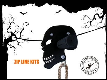 CTSC 95' Flyer Skull Zip Line with Seat and Brake to have a safe and cool time at your backyard