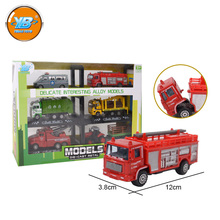 Yibao kids 6pcs alloy metal diecast toy fire fighting truck garbage truck