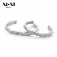 Custom Design Screw Bangle Couples Stainless Steel Nail Open Bracelet