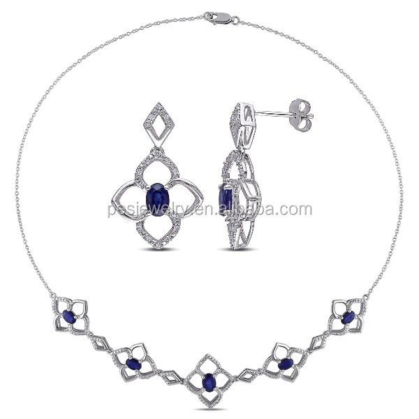 PES Jewellery Set! Fine Blue Sapphire White CZ Diamond-Shape Necklace and Earrings (PES50-046)