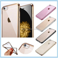 Super Thin Electroplating Bumper Anti-scratch Soft TPU Protective Back Cover Case for iPhone 6/6s