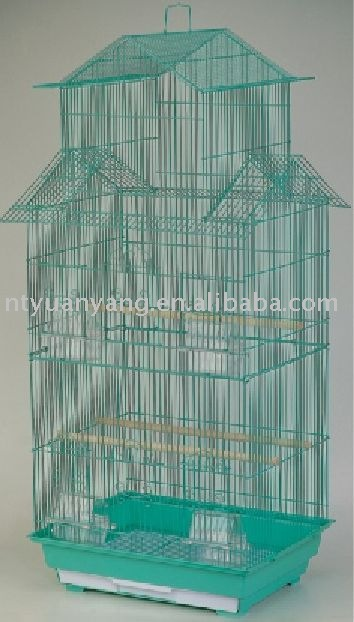 outdoor plastic tray blue color metal wire mesh animal bird cage