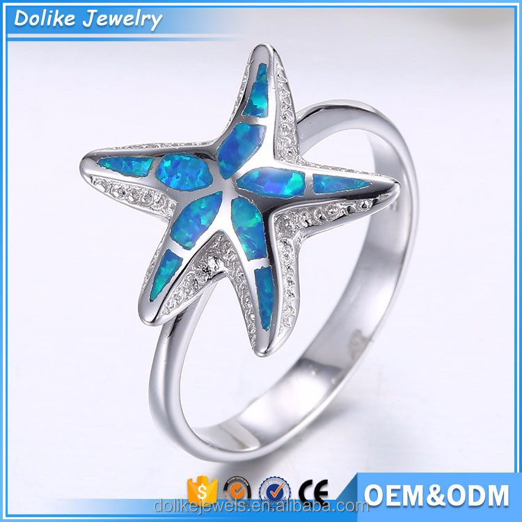 Wholesale Five-pointed Star Sterling Silver mens opal rings for sale