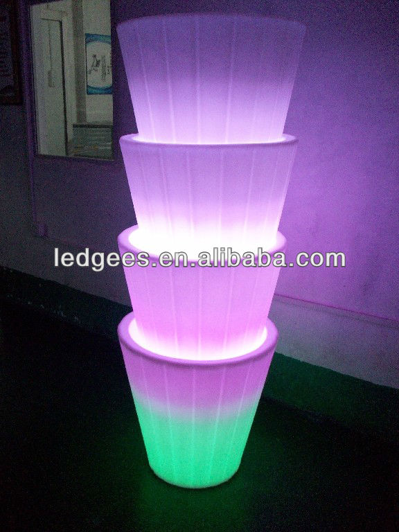 COOL! 2013 LED Stacking Planter with 16 Color Changing and Remote, for Indoor and Outdoor
