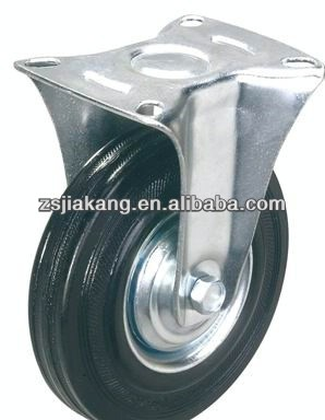 soft Industrial solid rubber caster, trolley wheel, roller bearing, fixed