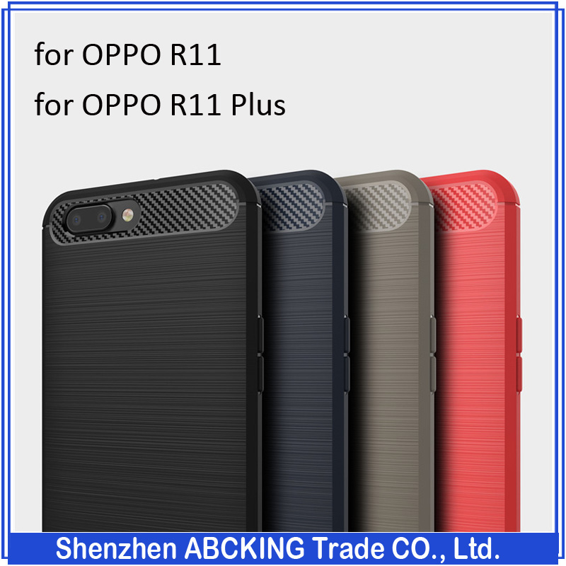 Hot Sell Silicone Carbon Fiber Brushed TPU Mobile Phone Cases for OPPO <strong>R11</strong> / <strong>R11</strong> Plus