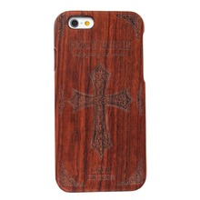 "The Bible Cross Carved Pattern Nature Wood Case for iphone 6 6s 4.7"" Mobile Phone Accessories"