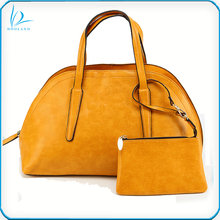 2017 designer smooth slightly distressed oily cowhide new style 100% genuine leather ladies handbag with small leather pouch