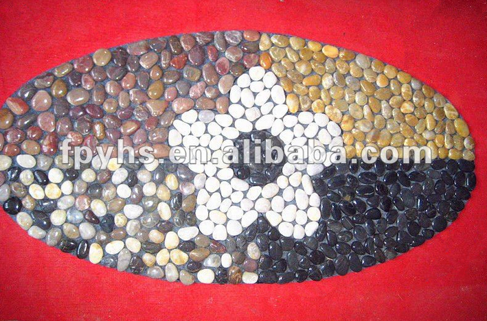 black polished pebble rugs