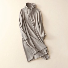 Women hoodie dress loose cashmere dresses khaki color above knee hooded knitted winter dress