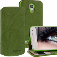 Geniune Leather Lucca Bookstyle case for Samsung Galaxy S4 Mini i9190 i9195 Washed Green Cow Leather