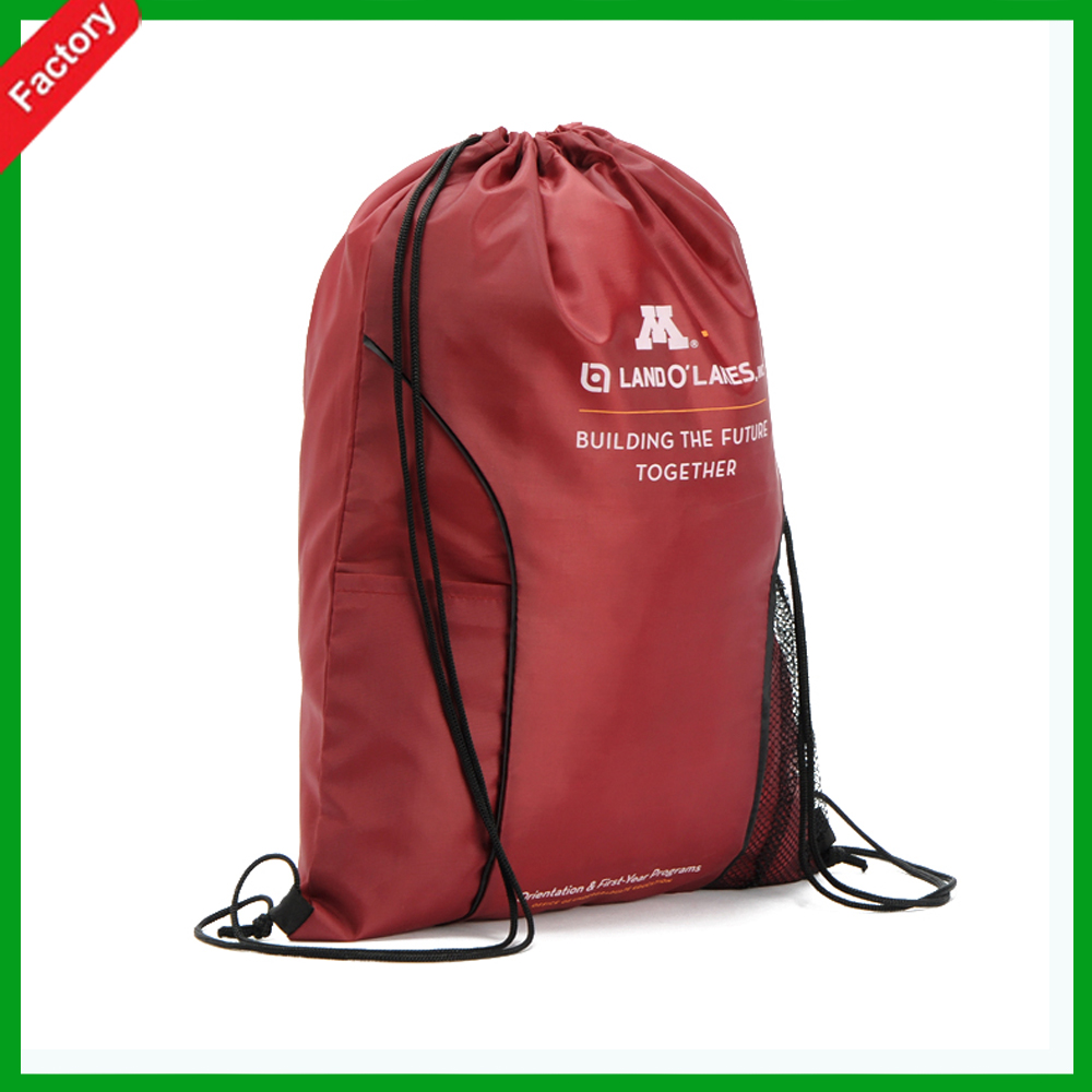 Wholesale Red color promotion High Quality fashion sports nylon mesh shopping bag polyester drawstring shopping bag