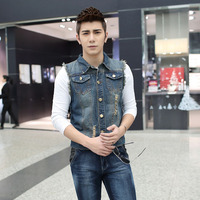 Wholesale OEM Bulk Factory Manale suManManer Han Slim denim vest Man1813 Vests Waistcoats