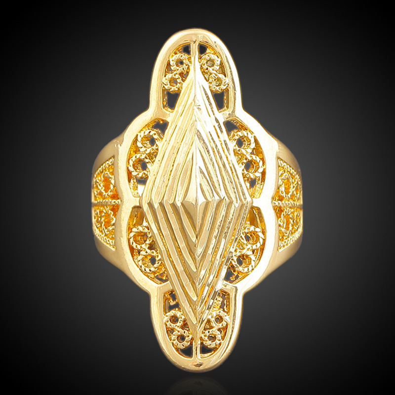 wholesale DUBAI 18K gold retro flower design womens ring jewelry