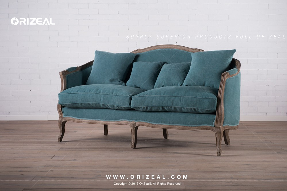 Orizeal Nautilus Antique Solid Oak Fabric Upholstered Chair (OZ-VFC-013T)