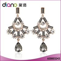 Wholesale Fashion Jewerly Hollow Gold Plated Water Drop Gry Stone Dangler Earrings for Women