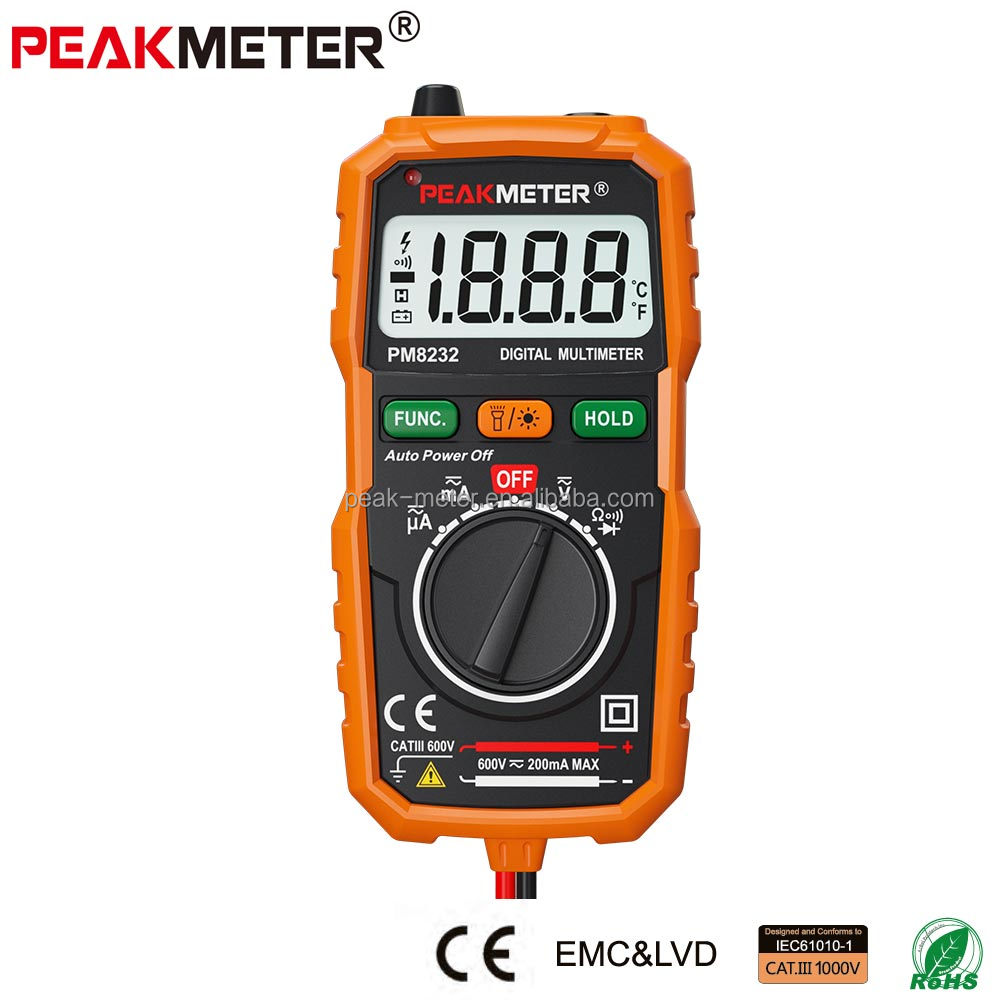 High Quality Non-Contact Mini Digital Multimeter PM8232 DC AC Voltage Current Tester with auto ranging
