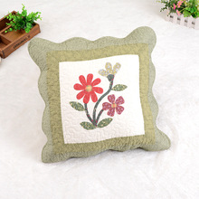 Wholesale patchwork cotton cushion cover with applique design used for car,home,hotel