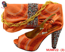 Gzmadison Wholesale Italian Matching Shoe and Bag Set for Party Summer High heels with stones/MJMF22-3